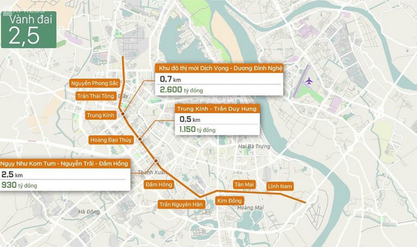 Quy hoạch và tiến độ thi công đường vành đai 2.5